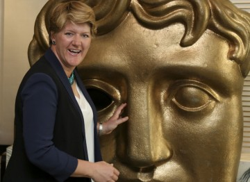 Clare gets familiar with the BAFTA mask, just a few days before she is presented with her own