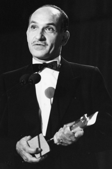 Ben Kingsley accepts his Outstanding Newcomer to Leading Film Roles BAFTA at the British Academy Film Awards in 1983 for his performance as the 'Mahatma' or 'Great Soul'.