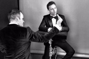 Tom Hiddleston in the boutique photo area at London's Royal Opera House.