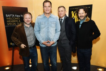 Rian Johnson, Michael Shannon, Daniel Craig and Ram Bergman