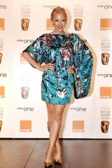 Pop starlet Kylie Minogue presented the BAFTA for Film Music in a distinctive mini kimono dress by Dolce and Gabbana. (pic: BAFTA/Richard Kendal)