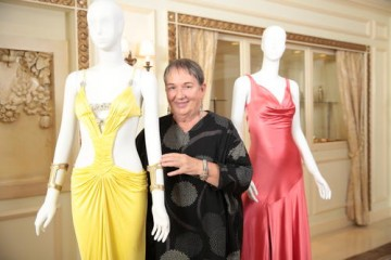 Hemming with costumes she designed for films in the James Bond franchise