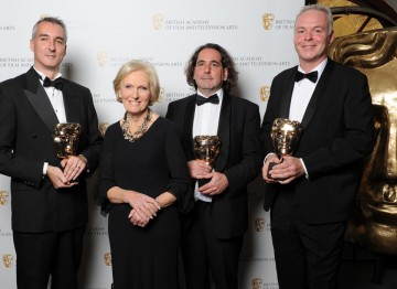 The winning team of the Editing Factual Award, for Frozen Planet (To The Ends Of The Earth) with food writer and star of Great British Bake Off Mary Berry
