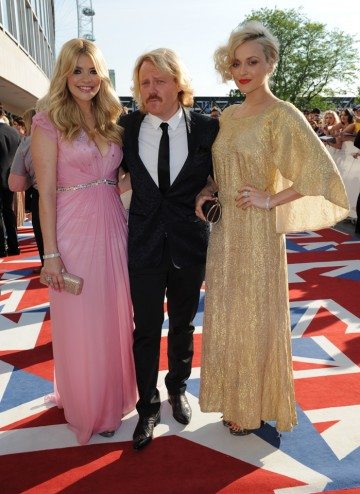 The Celebrity Juice host and presenters will be hoping the show emerges victorious in the Entertainment Programme and YouTube Audience Award categories. Holly Willoughby wears a Jenny Packham gown whilst Fearne Cotton wears Vintage.