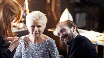 Julie Walters and Ralph Fiennes in the backstage styling area at London's Royal Opera House before presenting the BAFTA for Outstanding British Contribution to Cinema.