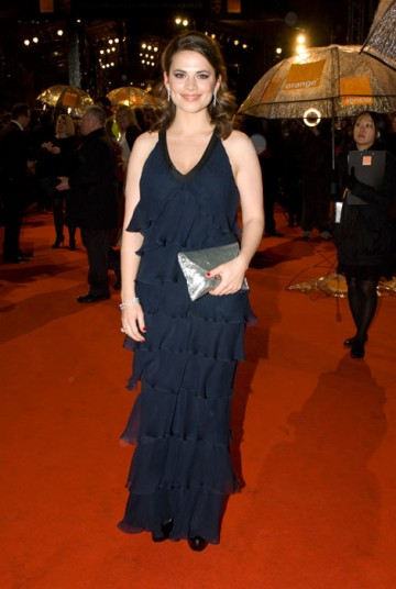 Hayley Atwell, star of The Duchess and the big-screen version of Brideshead Revisited, accompanied elegant Feretti with Kiki McDonald accessories (BAFTA / Richard Kendal).