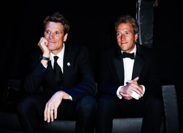 James Cracknell and Ben Fogle backstage at the 2010 BAFTA Television Awards.
