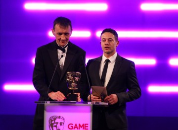 Supersonic Software founder Pete Williamson and actor Warren Brown announce the winners of the Game Innovation BAFTA.
