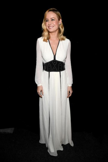 Brie Larson backstage before she presented Samuel L. Jackson with the  Albert R. Broccoli Britannia Award for Worldwide Contribution to Entertainment.