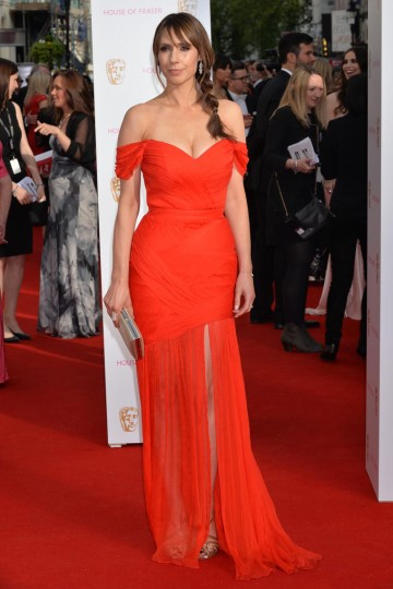 Alex Jones hits the red carpet. Tanning and skin finnishing by St Tropez, jewellery by CARAT*, make up by MAC