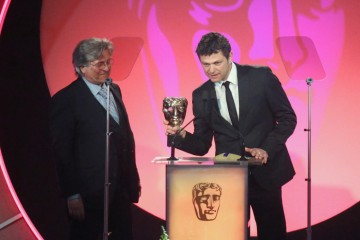 Enzo Mastrantonio and Nick Dudman accept the award for Make Up & Hair Design sponsored by MAC Cosmetics at the British Academy Television Craft Awards in 2015 (Stefano Ceccarelli not present)