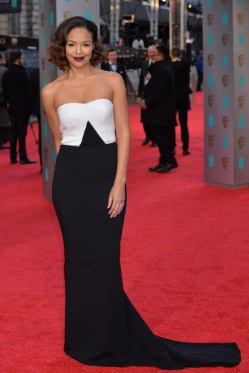 Sarah-Jane Crawford looks striking in black and white on the red carpet