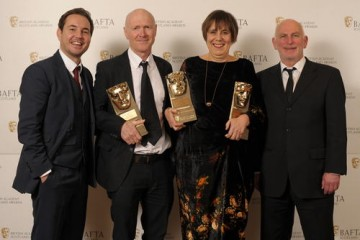 Paul Laverty & Rebecca O'Brien (Oustanding Contribution to Film) with citation readers Martin Compston & Gary Lewis