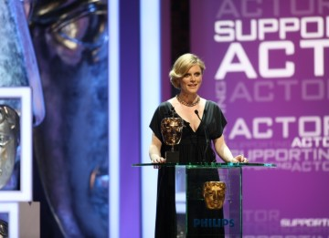 Silent Witness star Emilia Fox Announces Matthew MacFadyen as the winner of the Supporting Actor Award for his role in Criminal Justice. Matthew was unable to attend the ceremony. (BAFTA/Steve Butler)