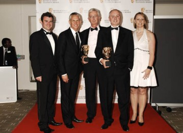 Gary Linekar presented the hotly contested Sport category to the ITV Formula One team for their coverage of the Brazilian Grand Prix  (BAFTA / Richard Kendal).