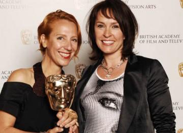 Michele Clapton celebrates her Costume Design BAFTA for The Devil's Whore with Primeval star and award presenter Juliet Aubrey (BAFTA / Richard Kendal).