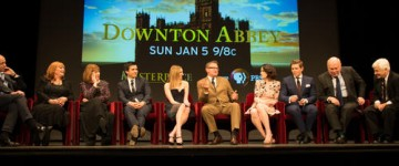 Downton Abbey cast and crew members answer questions at an event held to preview season four of the show in New York.