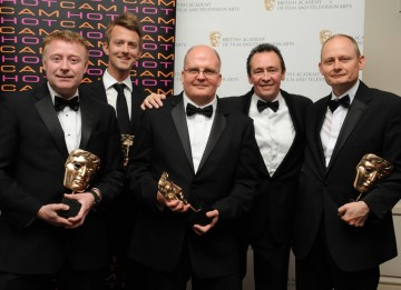 Presenter Paul Whitehouse with the winning team behind ITV's The Cube. (Pic: BAFTA/Chris Sharp)