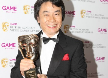 Shigeru Miyamoto, the man behind some of the world's most famous video games, from Donkey Kong to Mario, accepts the Academy Fellowship (BAFTA/Steve Butler).