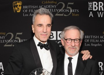 Actor Daniel Day-Lewis with director Steven Spielberg who presented his Britannia honor.