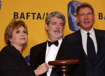 Carrie Fisher, George Lucas and Harrison Ford