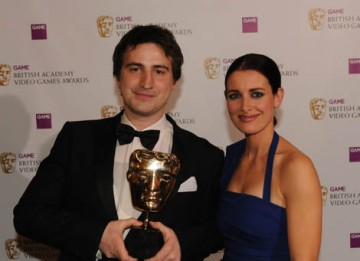 Scottish TV presenter Kirsty Gallacher presented the Best Game Award to Rob Lowe for Super Mario Galaxy (BAFTA / James Kennedy).