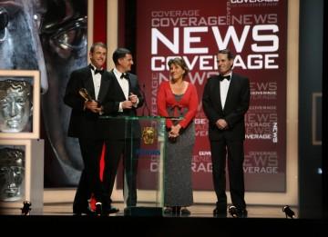 The ITV News at Ten Team collect the Bafta for their coverage of the Haiti earthquake. (BAFTA/Steve Butler)