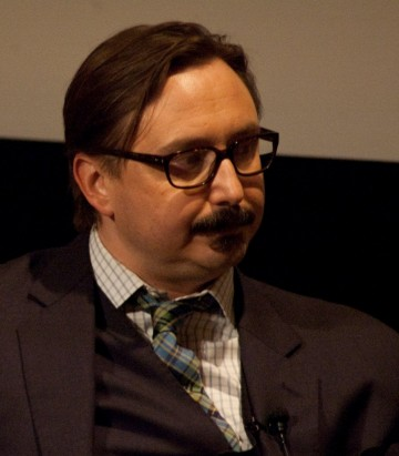 "John Hodgman moderating the Q&A for ""Life's Too Short"" Ricky Gervais"