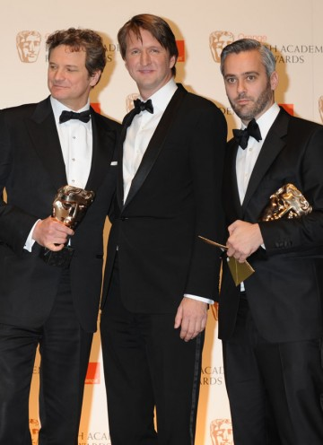 Star Colin Firth, director Tom Hooper and producer Iain Canning collect The King's Speech's BAFTA for Best Film. (Pic: BAFTA/ Richard Kendal)