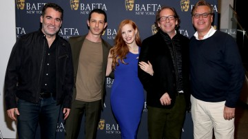 Brian d'Arcy James, Jeremy Strong, Jessica Chastain, Bill Camp, Aaron Sorkin