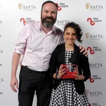Pictured left to right - Presenter Greg Hemphill and Hannah Ord who won Actress for 'Last Night In Edinburgh.'