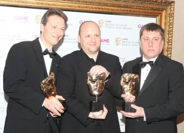 David Cage, Guillaume de Fondaumiere and  Scott Johnson, whose work on the dramatic noir-esque thriller was praised by the jury for its eye-catching visuals and clever, engaging technical design. (Pic: BAFTA/Steve Butler)