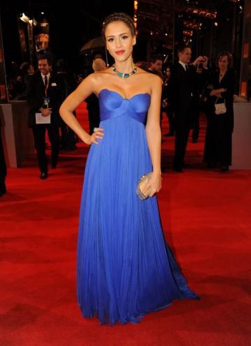 Citation reader Alba appeared in Michael Winterbottom's The Killer Inside Me and Robert Rodriguez's Machete last year. Alba is wearing a blue floor length Versace dress. (Pic: BAFTA/Richard Kendal)