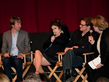 Director Tom Hooper, Helena Bonham Carter and Colin Firth.