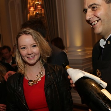 Star of The Mill, Kerry Hayes enjoys a glass of Champagne Taittinger