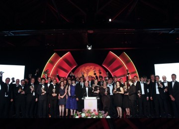 All the winners at the 2011 Television Craft Awards congregate on the stage for the winners group photo. (Pic: BAFTA/Jamie Simonds)