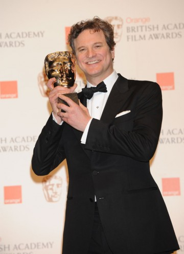 Colin Firth wins the BAFTA for his performance as King George VI in The King's Speech. (Pic: BAFTA/ Richard Kendal)