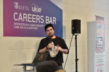 Attendees listen to a talk at the BAFTA and UKIE Careers Bar