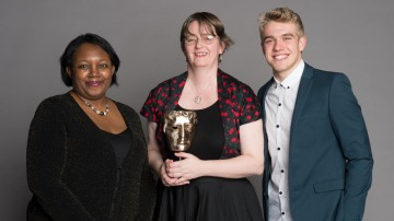 Debbie Moon, winner of the Writer category at the British Academy Children's Awards in 2014 for Wolfblood, presented by Malorie Blackman