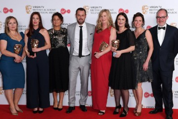 Danny Dyer poses with the team behind Who Do You Think You Are following their Features win: L-R - Helen Nixon, Anna Kirkwood, Leanne Klein, Sarah Feltes, Colette Flight, Diene Petterle & Richard Thomson
