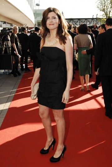 Sharon Horgan, nominee in the Comedy Performance category, walked the red carpet in a simple black dress (BAFTA / Richard Kendal).