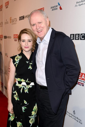Actors Claire Foy and John Lithgow from Netflix series The Crown attend the 2017 BAFTA Tea