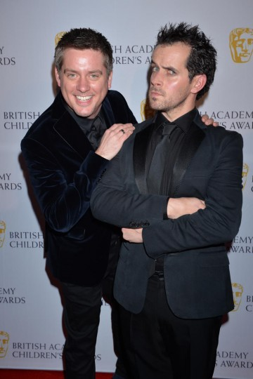 Presenter nominees Richard McCourt and Dominic Wood, aka Dick & Dom, arrive at the Richard McCourt and Dominic Wood