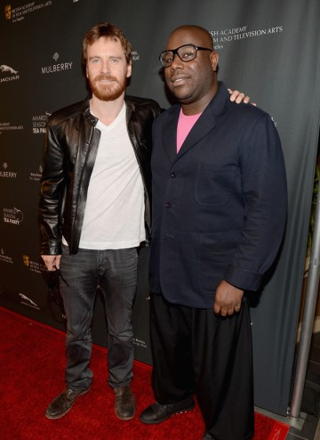 Michael Fassbender and director Steve McQueen on the red carpet at the BAFTA LA 2014 Awards Season Tea Party.