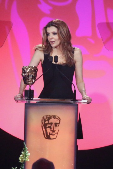 Dr Linda Papadopolous presents the award for Director: Factual at the British Academy Television Craft Awards in 2015