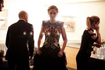Emily Blunt gets ready to go on stage.
