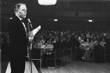 The SFTA Chairman compères at the Film and Television Awards ceremony in 1970.