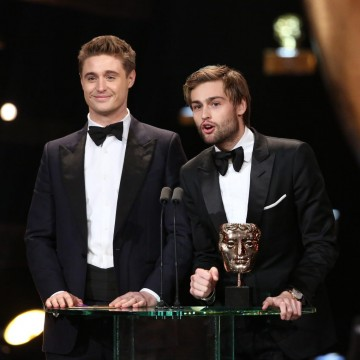 Douglas Booth and Max Irons present the award for Production Design at the 2016 EE British Academy Film Awards