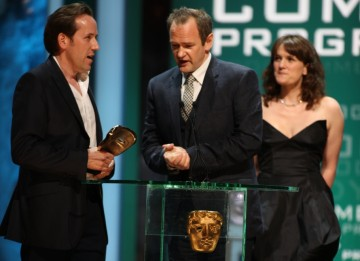 Alexander Armstrong and Ben Miller collect their Academy Award for The Armstrong and Miller Show. (BAFTA/Steve Butler)