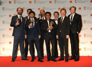 Presenter Paul Bettany (l) with the Senna team Asif Kapadia, James Gay-Rees, Eric Fellner, Tim Bevan and Manish Pandey.